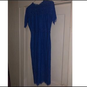 Cobalt blue lace, sheer mid section midi dress